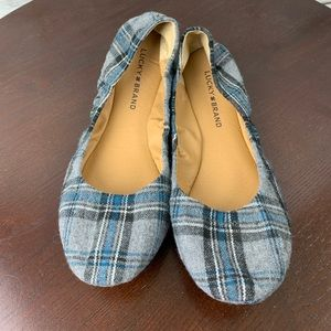 Lucky Brand Gray Plaid Shoes 8.5 ballet Flats